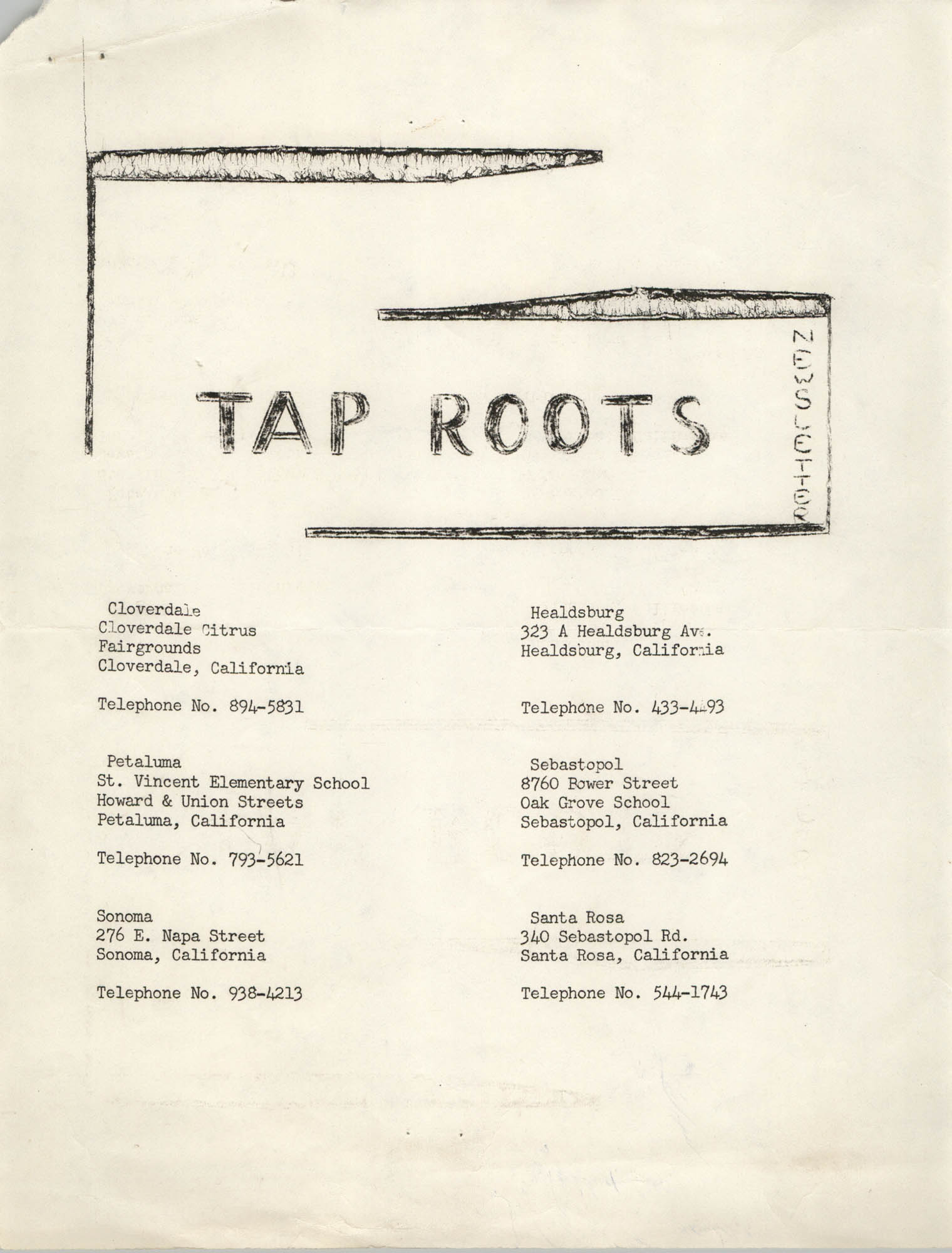 Tap Roots Newsletter
