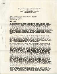 Letter from Progressive Club Sea Island Center to U.S. Department of Labor, November 20, 1964