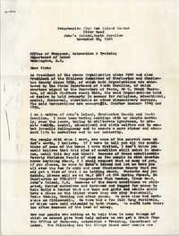 Letter from Progressive Club Sea Island Center to U.S. Department of Labor, November 20, 1964