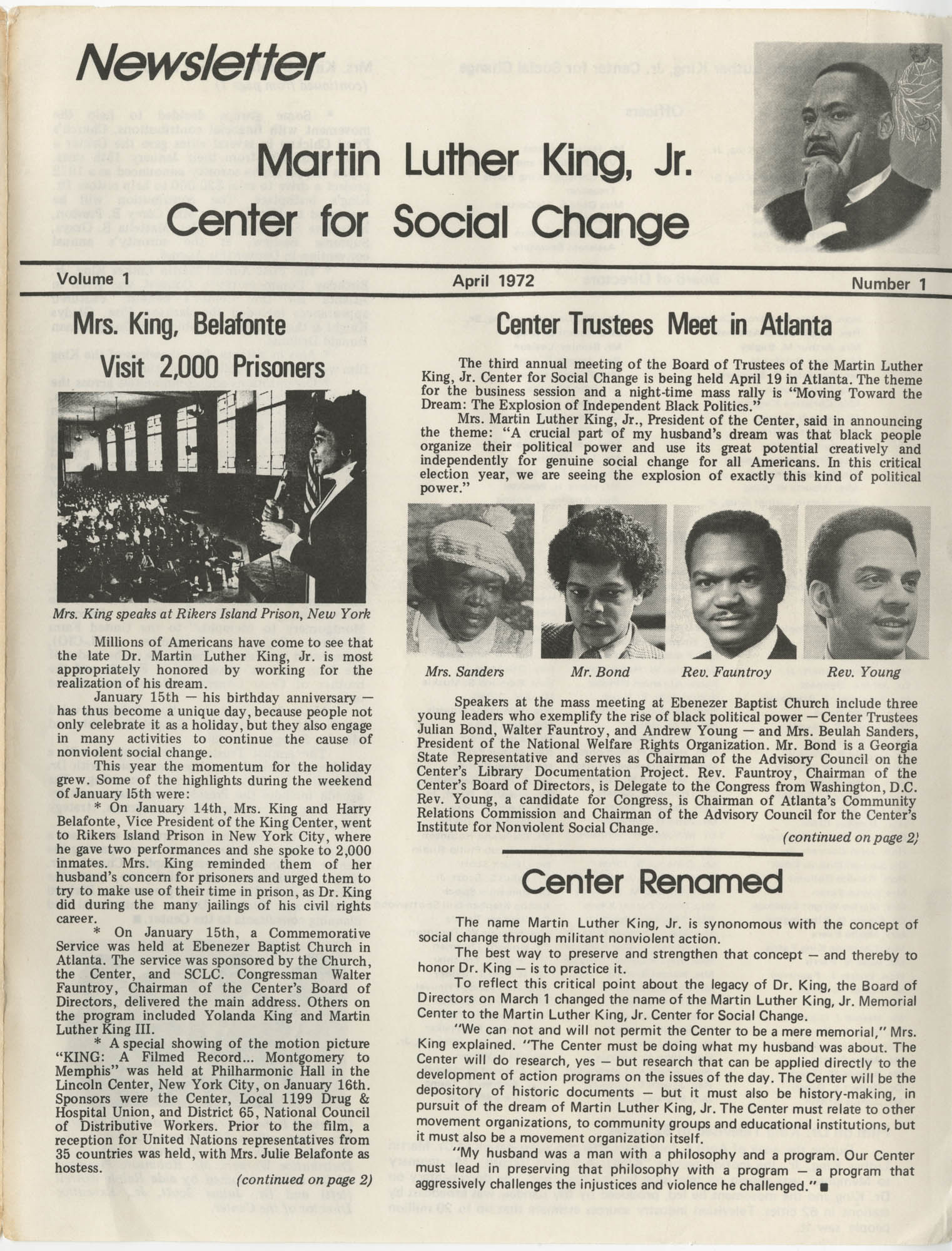 Martin Luther King, Jr. Center for Social Change Newsletter, Volume 1, Number 1