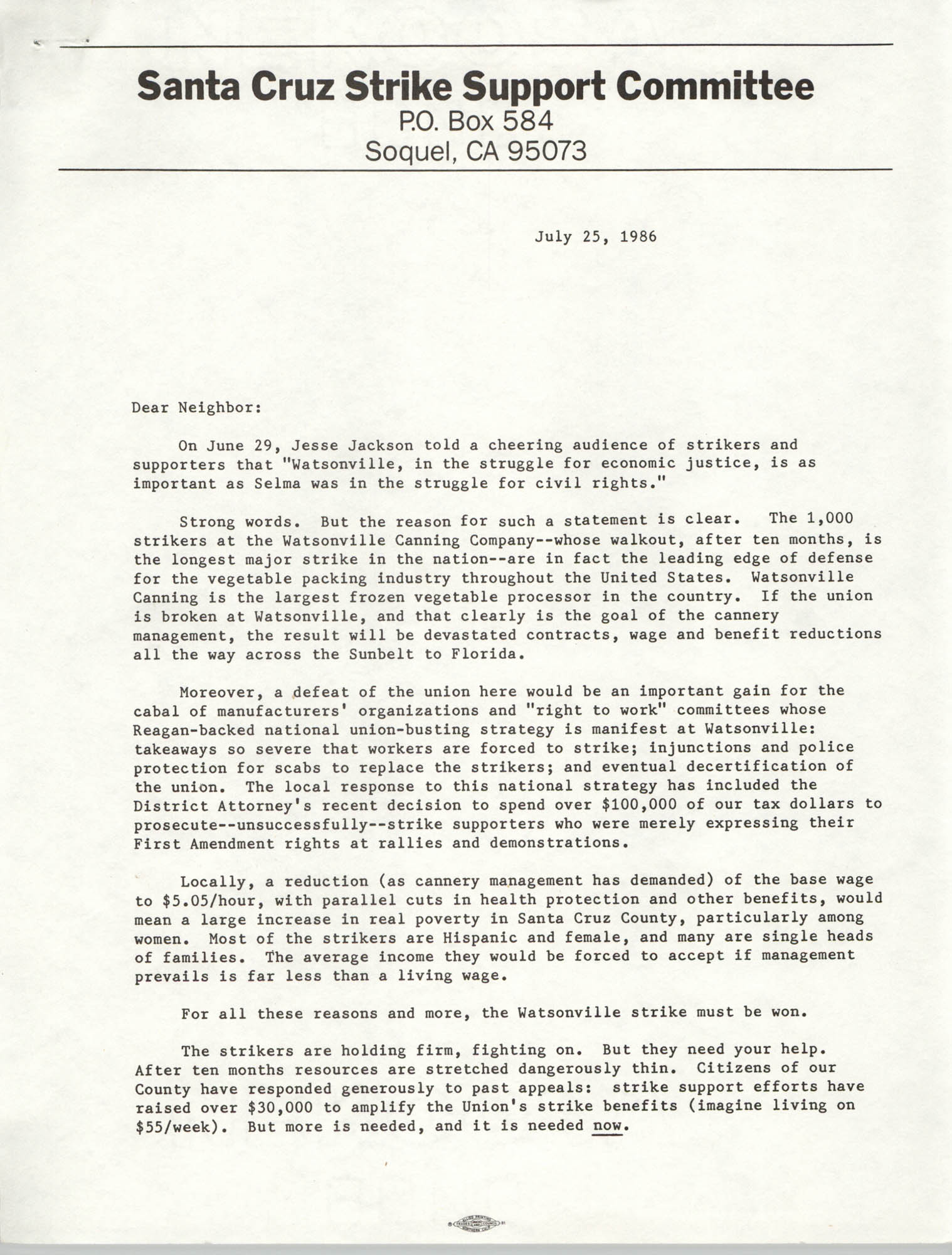 Letter from Santa Cruz Strike Support Committee, July 25, 1986