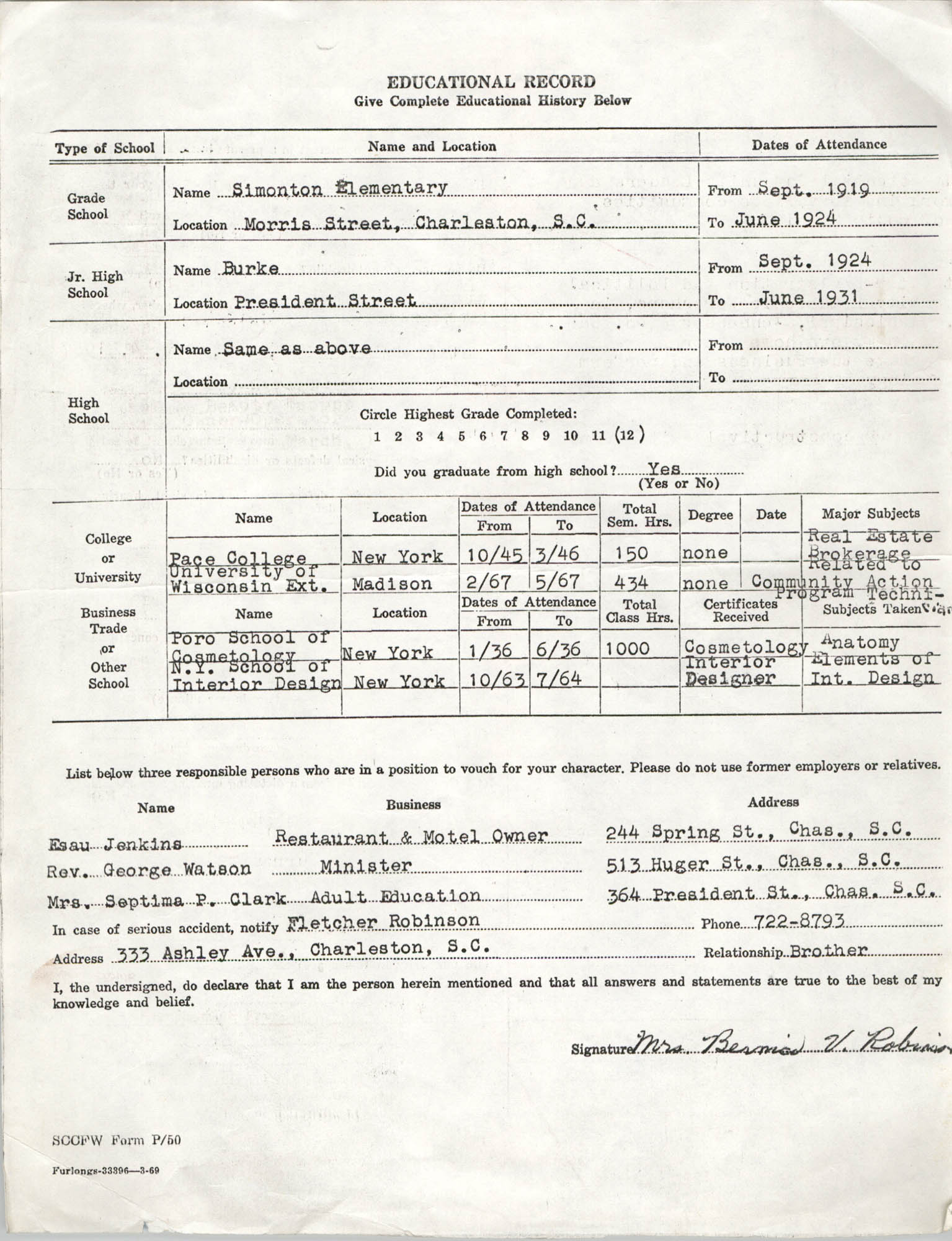 Bernice V. Robinson's Education Record