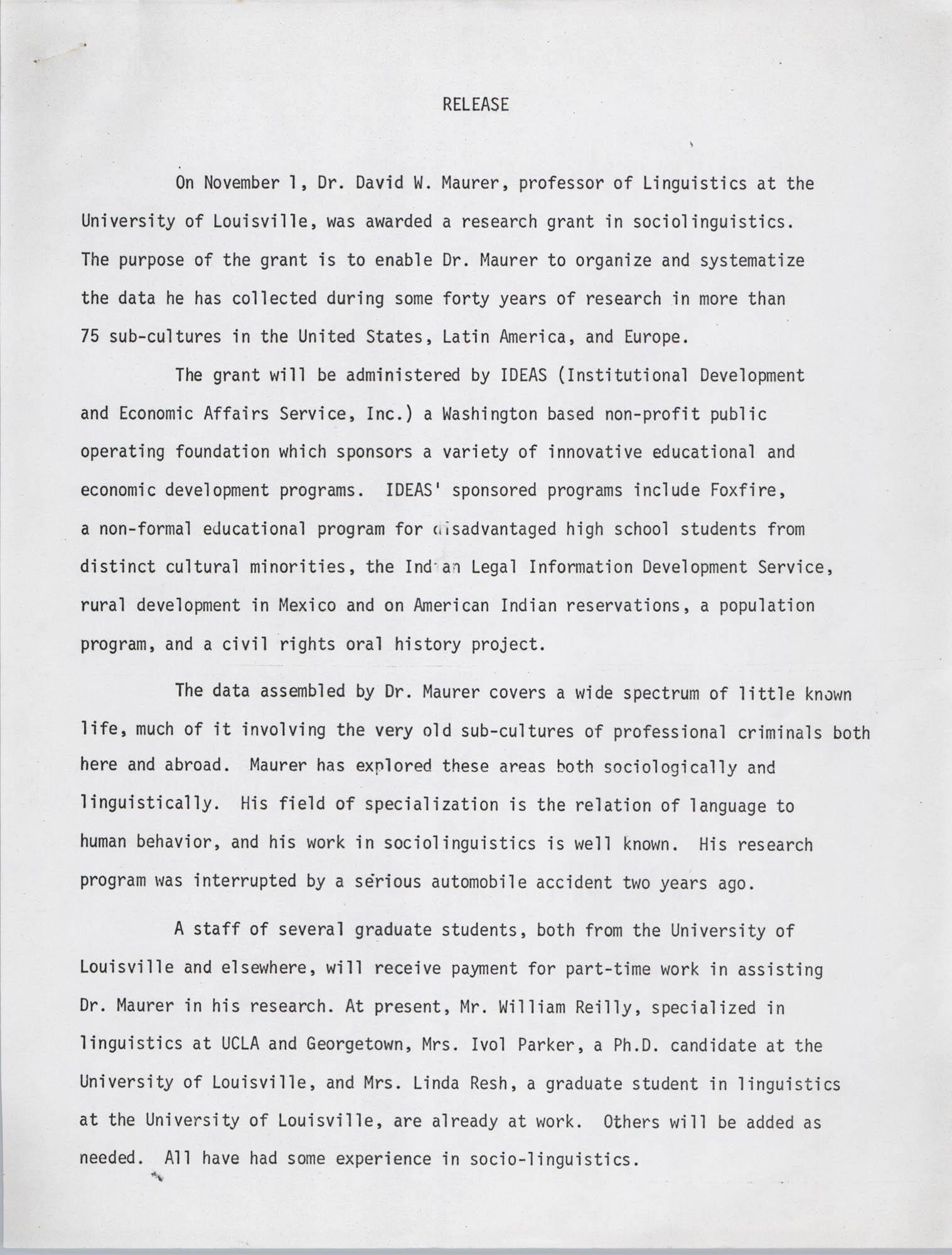 David Maurer Press Release