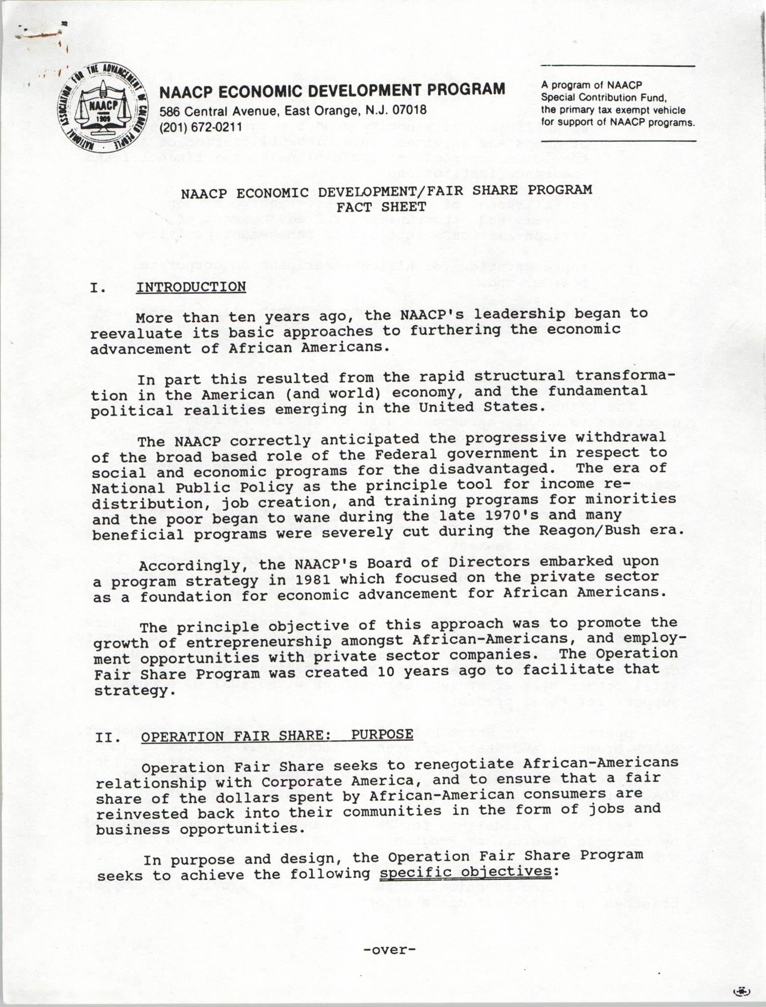 NAACP Economic Development Program and Fair Share Program Fact Sheet