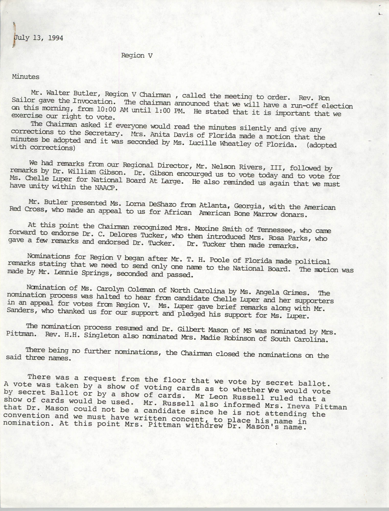 Minutes, Charleston Branch of the NAACP Region V Meeting, July 13, 1994