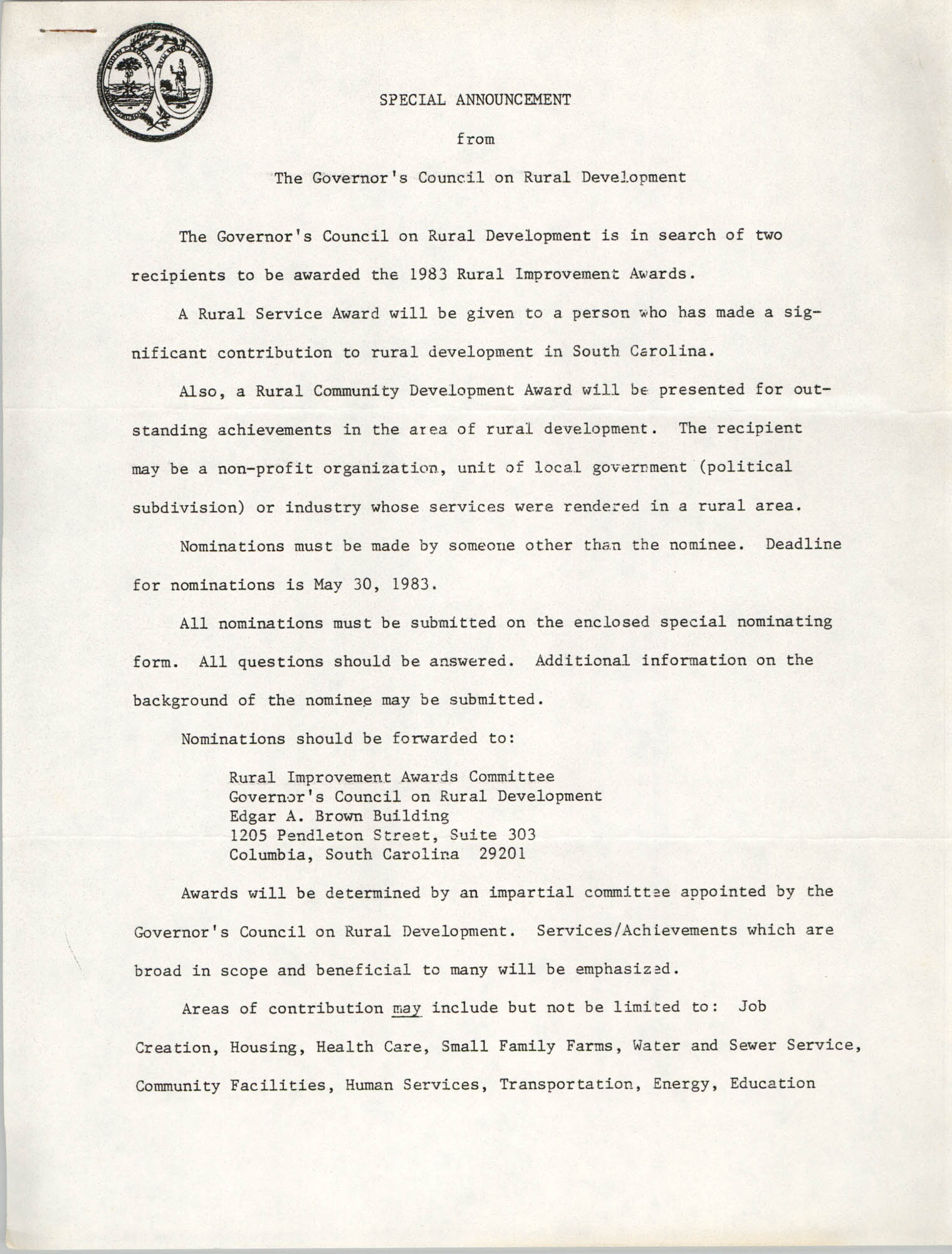 Special Announcement from The Governor's Council on Rural Development, 1983