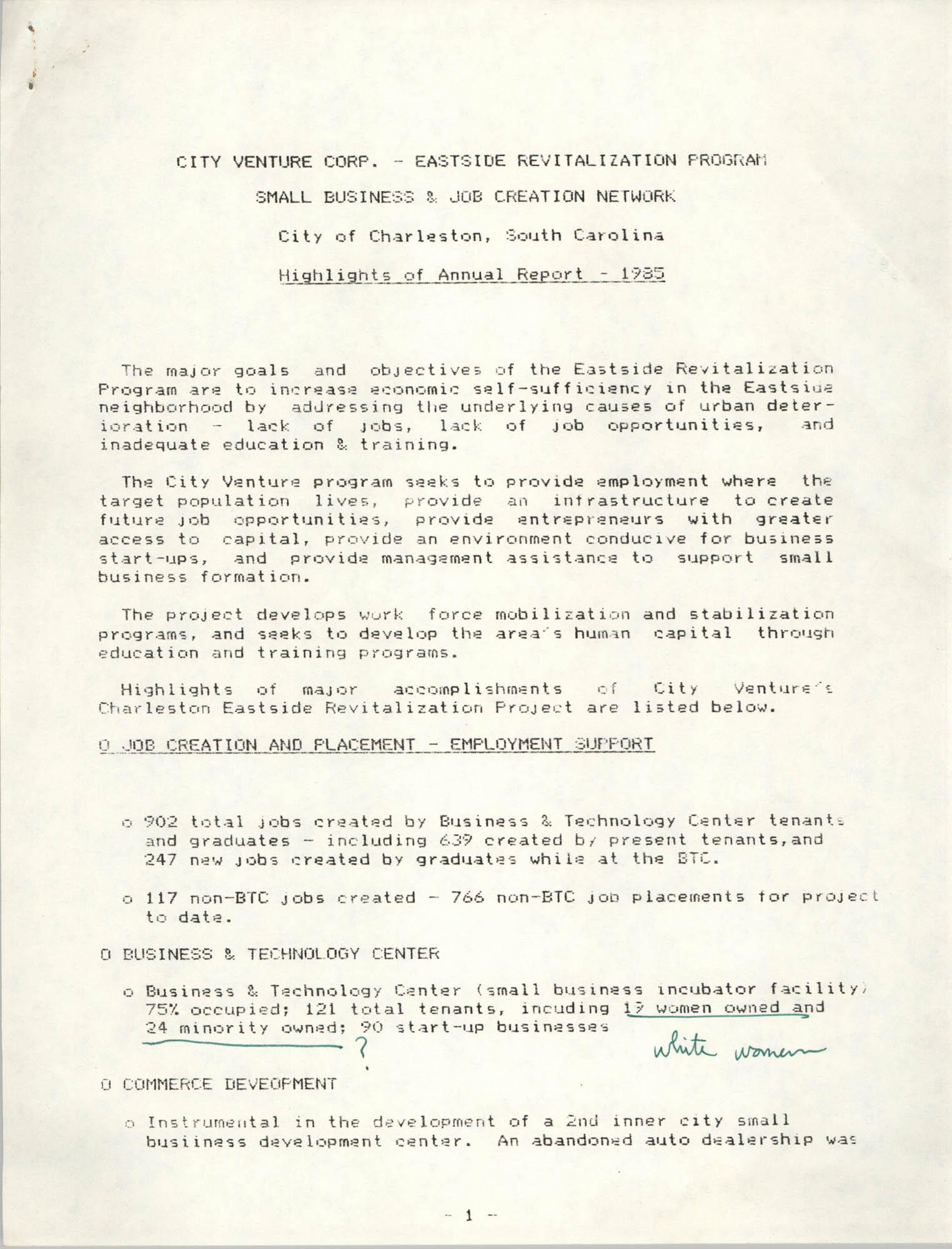 City Venue Corp. – Eastside Revitalization Program, Small Business and Job Creation Network, 1985