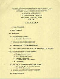 Agenda, South Carolina Conference of Branches of the NAACP, February 8, 1992