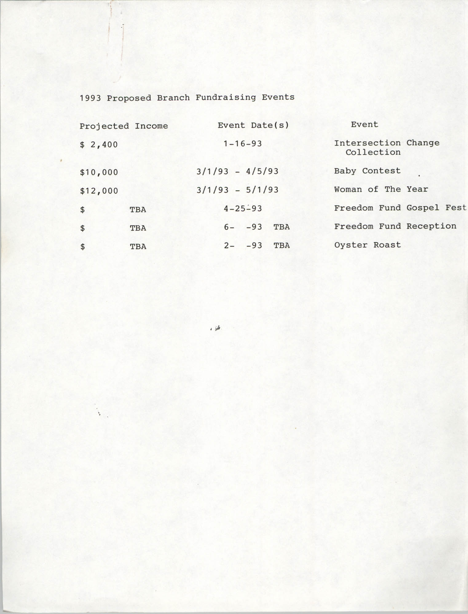 Charleston Branch of the NAACP, 1993 Proposed Branch Fundraising Events