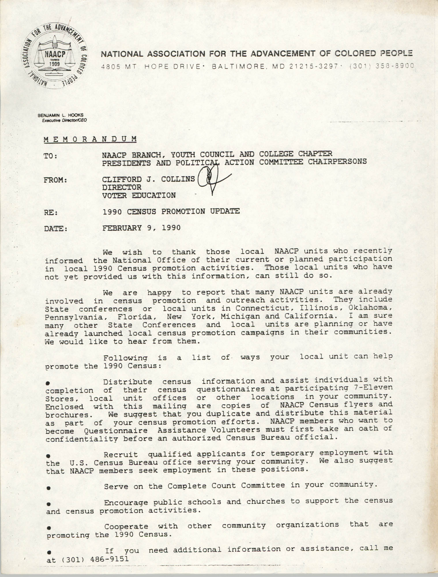 NAACP Memorandum, February 9, 1990