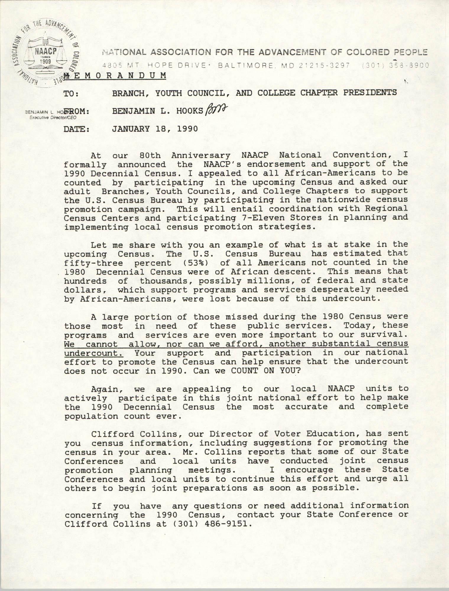 NAACP Memorandum, January 18, 1990