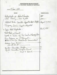 Notes, Charleston Branch of the NAACP, June 4, 1990