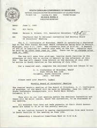 South Carolina Conference of Branches of the NAACP Memorandum, June 1, 1989