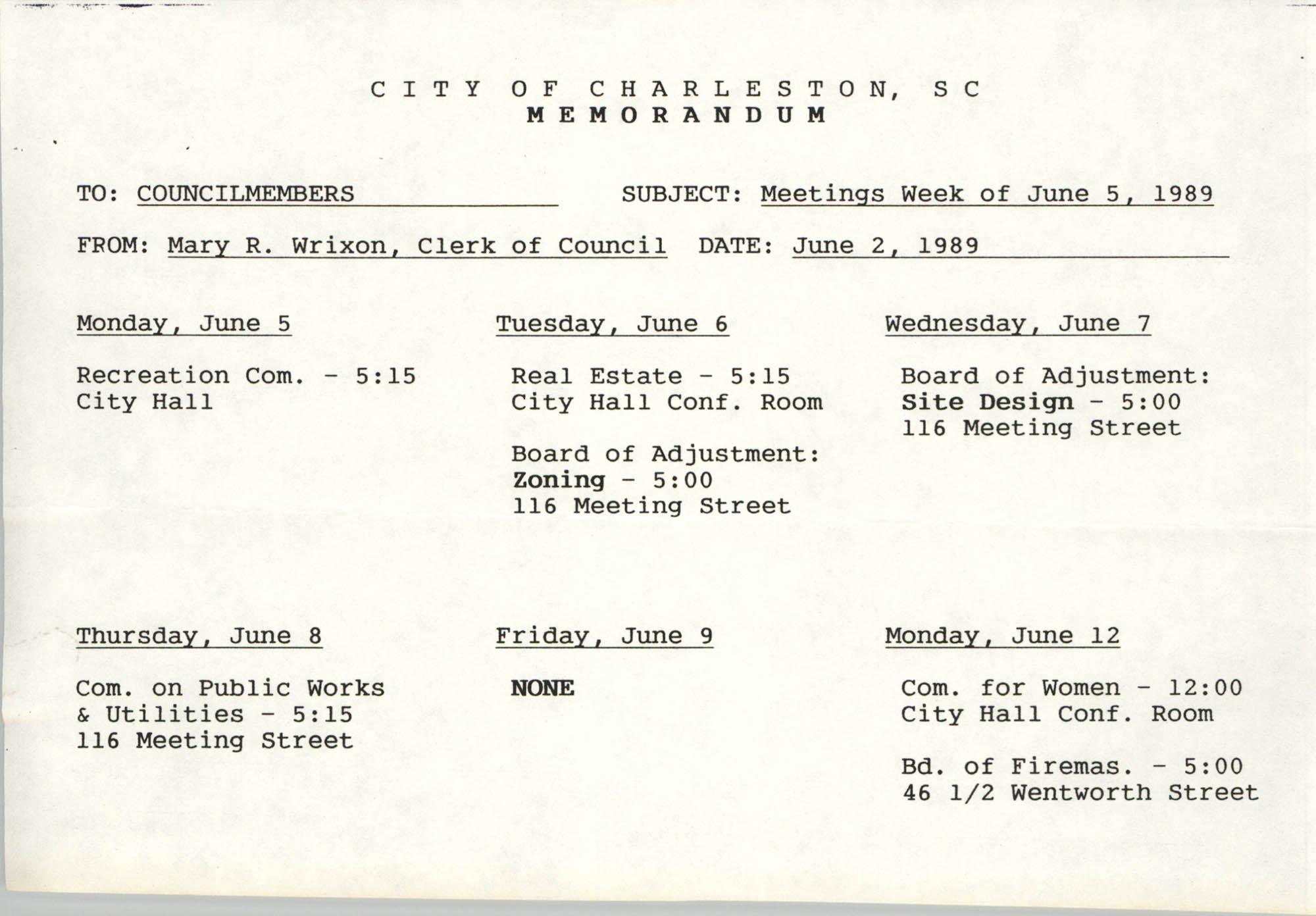 City of Charleston Memorandum, June 2, 1989