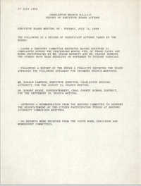 Report of Executive Board Actions, Charleston Branch of the NAACP, July 27, 1989