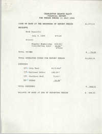 Charleston Branch of the NAACP Financial Report, July 11, 1989