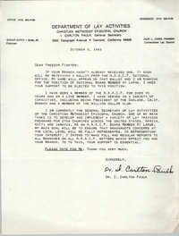 Letter from Dr. I. Carlton Faulk to Freedom Fighters, October 3, 1983