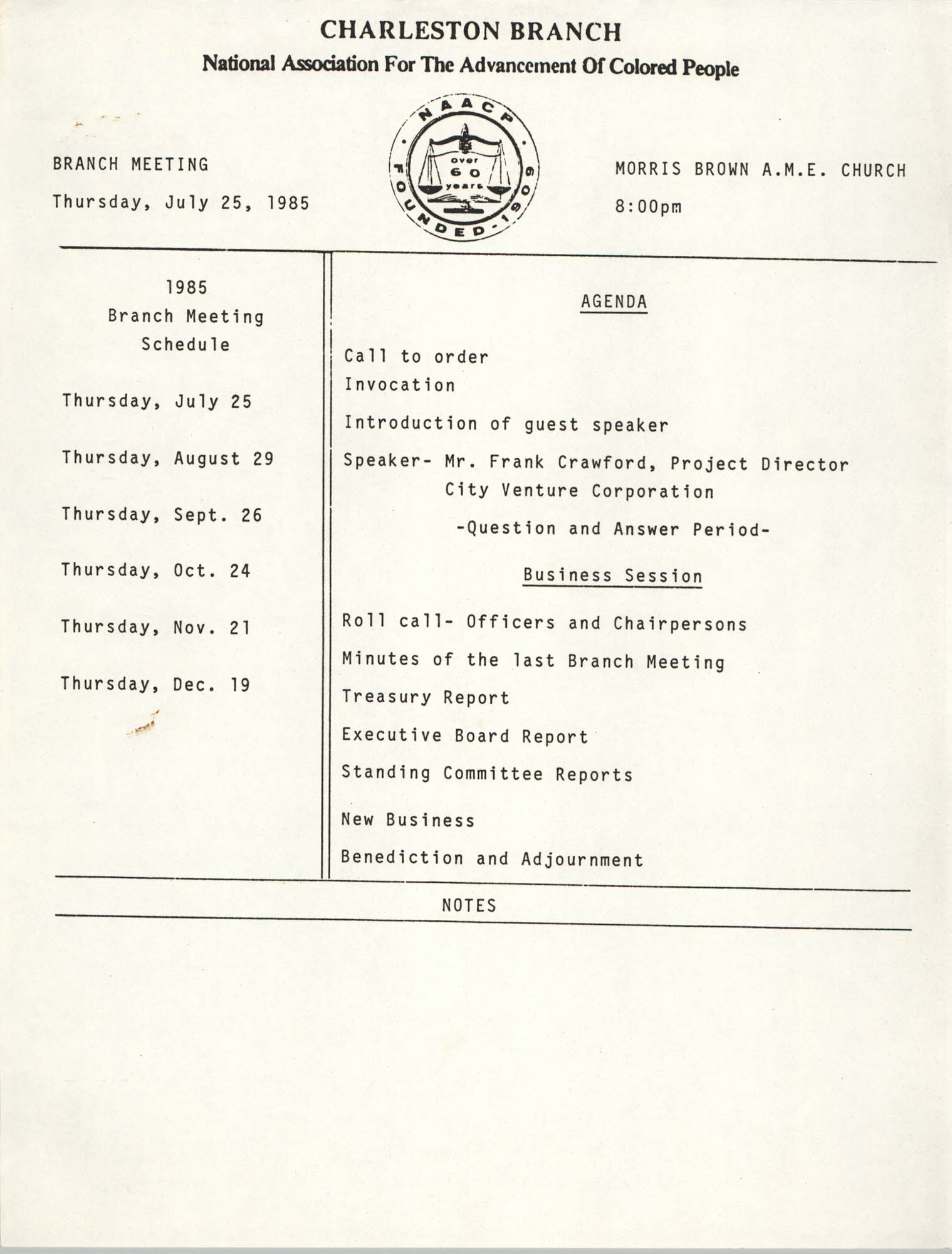 Charleston Branch of the NAACP Branch Meeting Schedule and Agenda, 1985