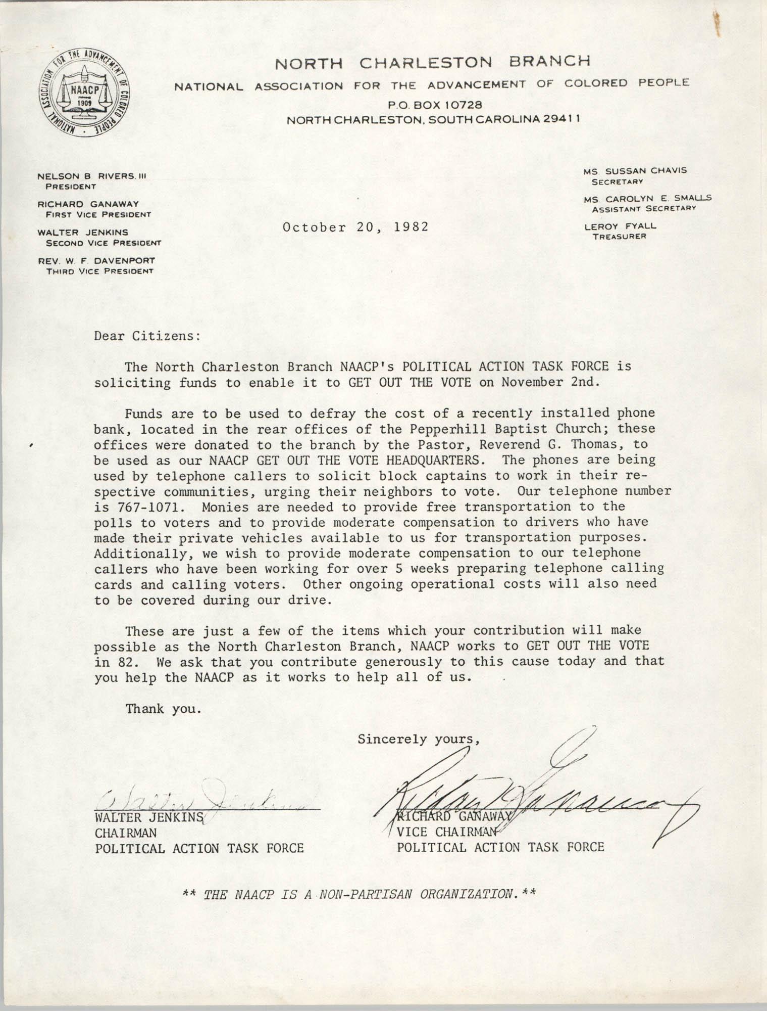 North Charleston Branch of the NAACP Memorandum, October 20, 1982