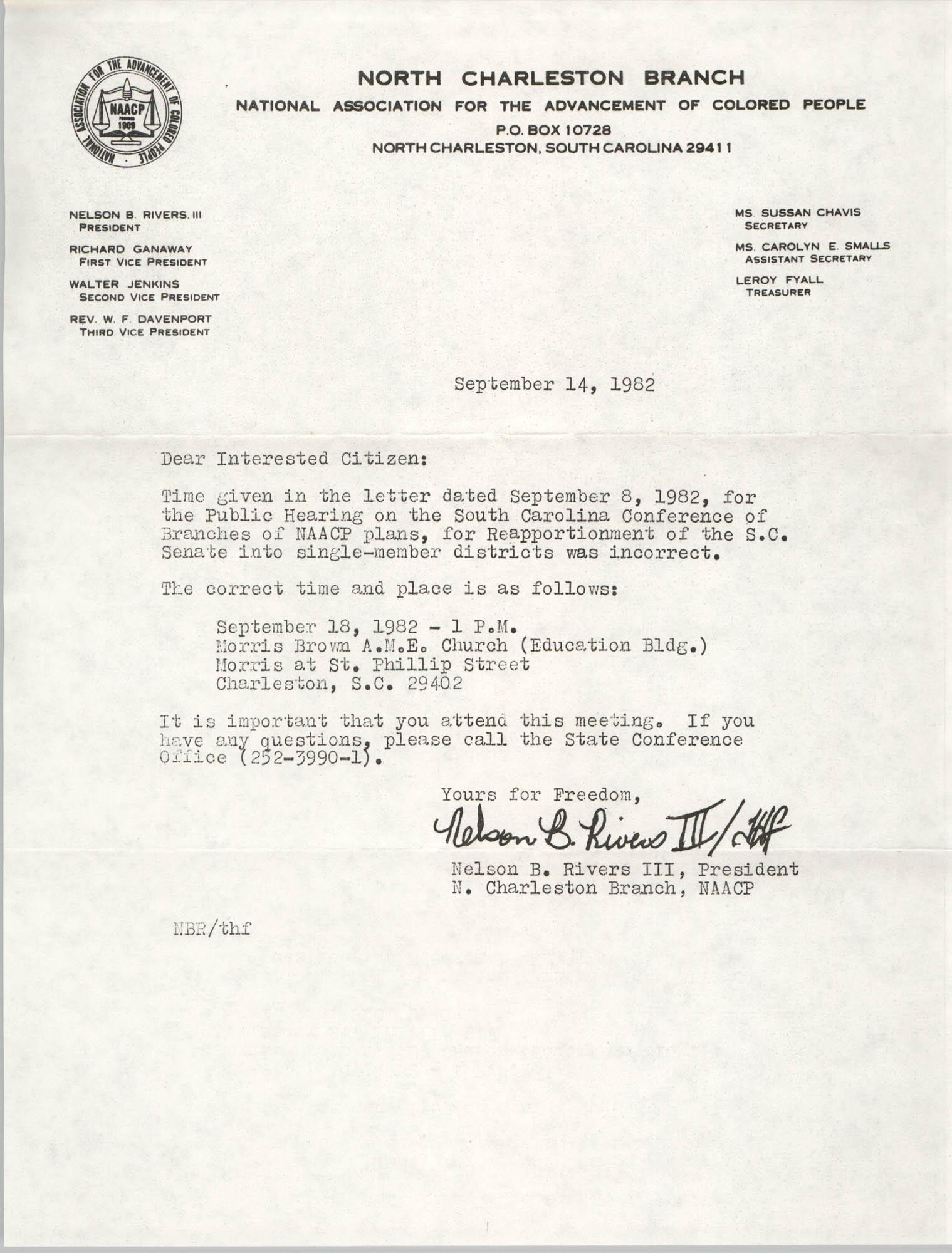 North Charleston Branch of the NAACP Memorandum, September 14, 1982