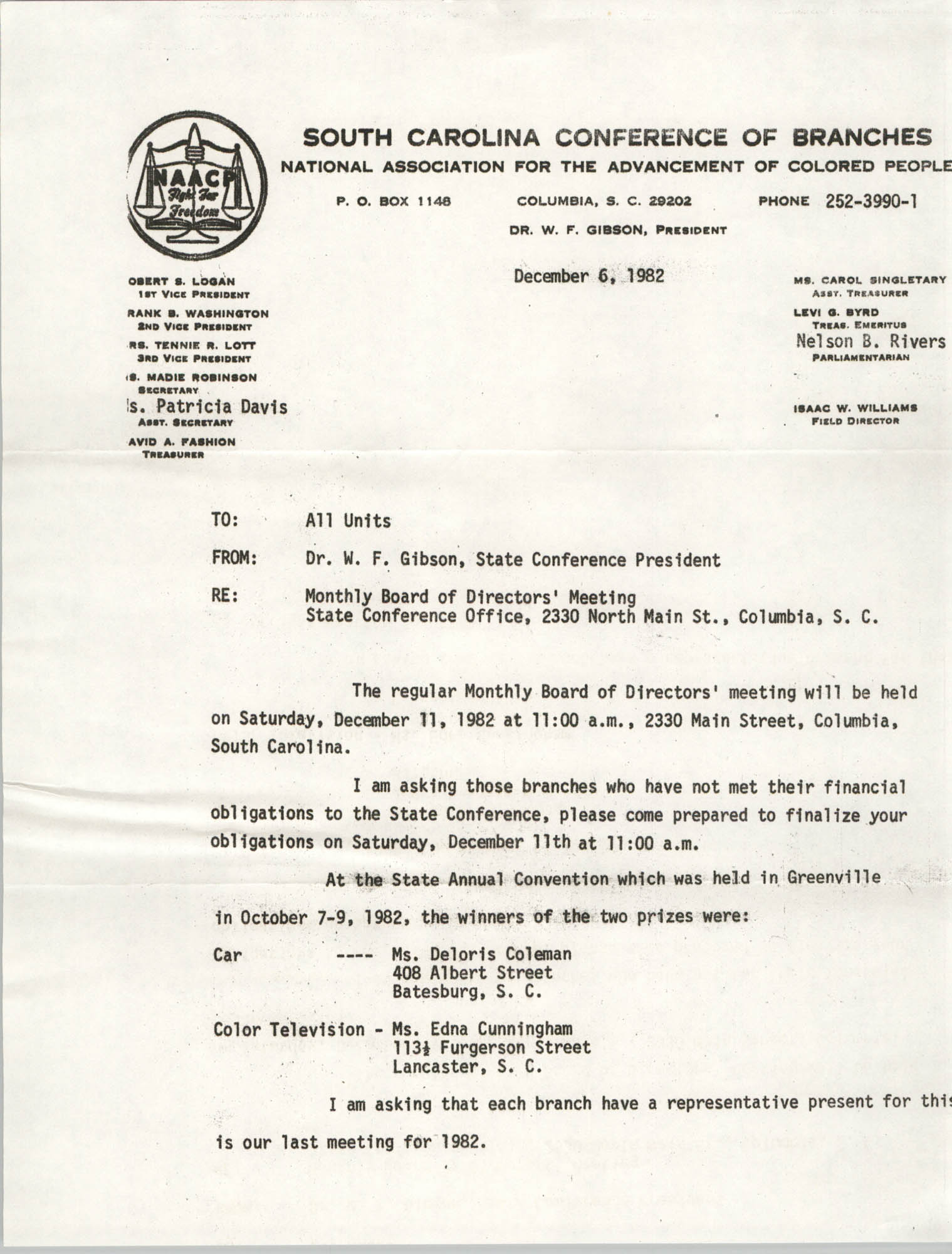 South Carolina Conference of Branches of the NAACP Memorandum, December 6, 1982