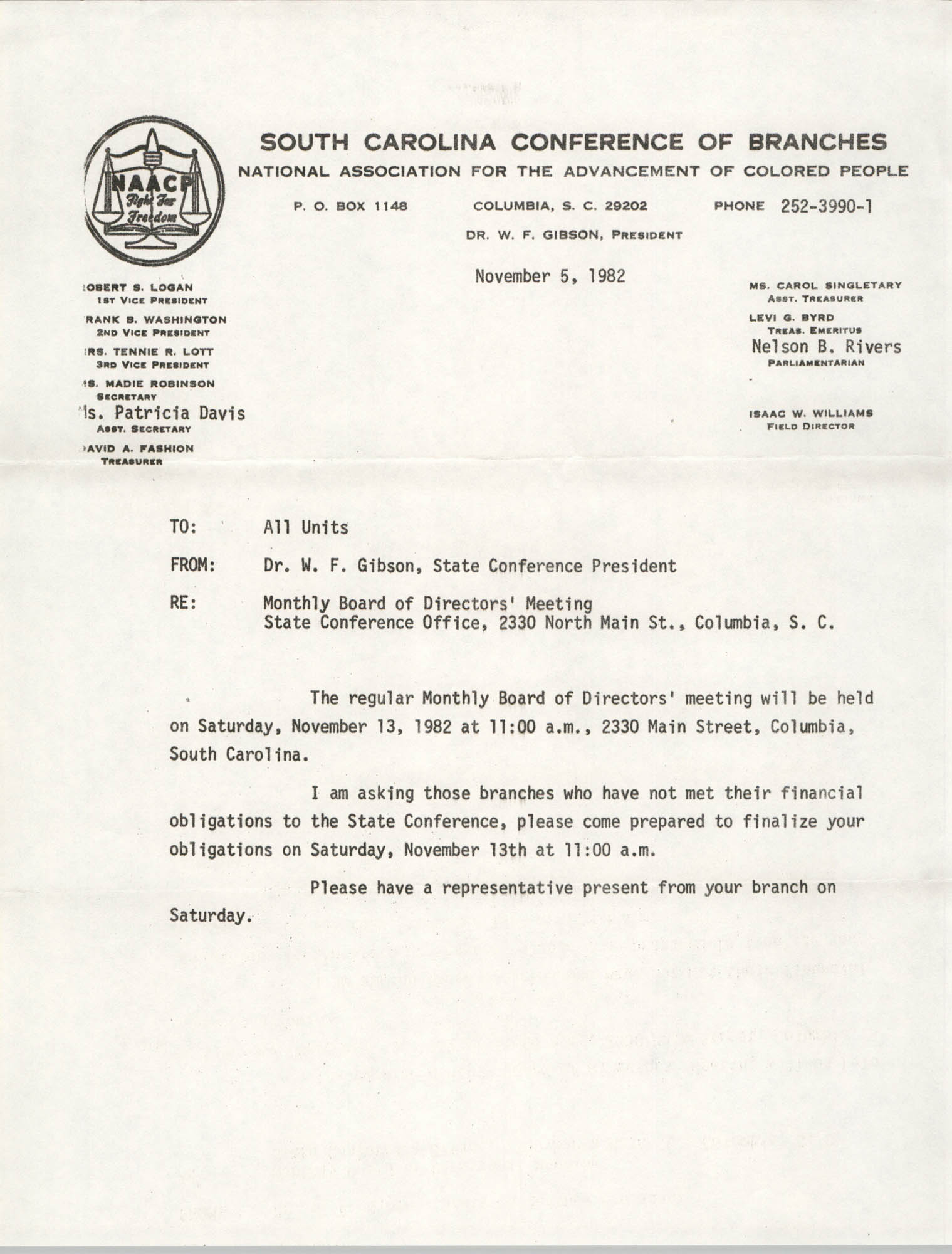 South Carolina Conference of Branches of the NAACP Memorandum, November 5, 1982