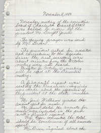 Minutes, Charleston Branch of the NAACP Executive Board Meeting, November 8, 1989