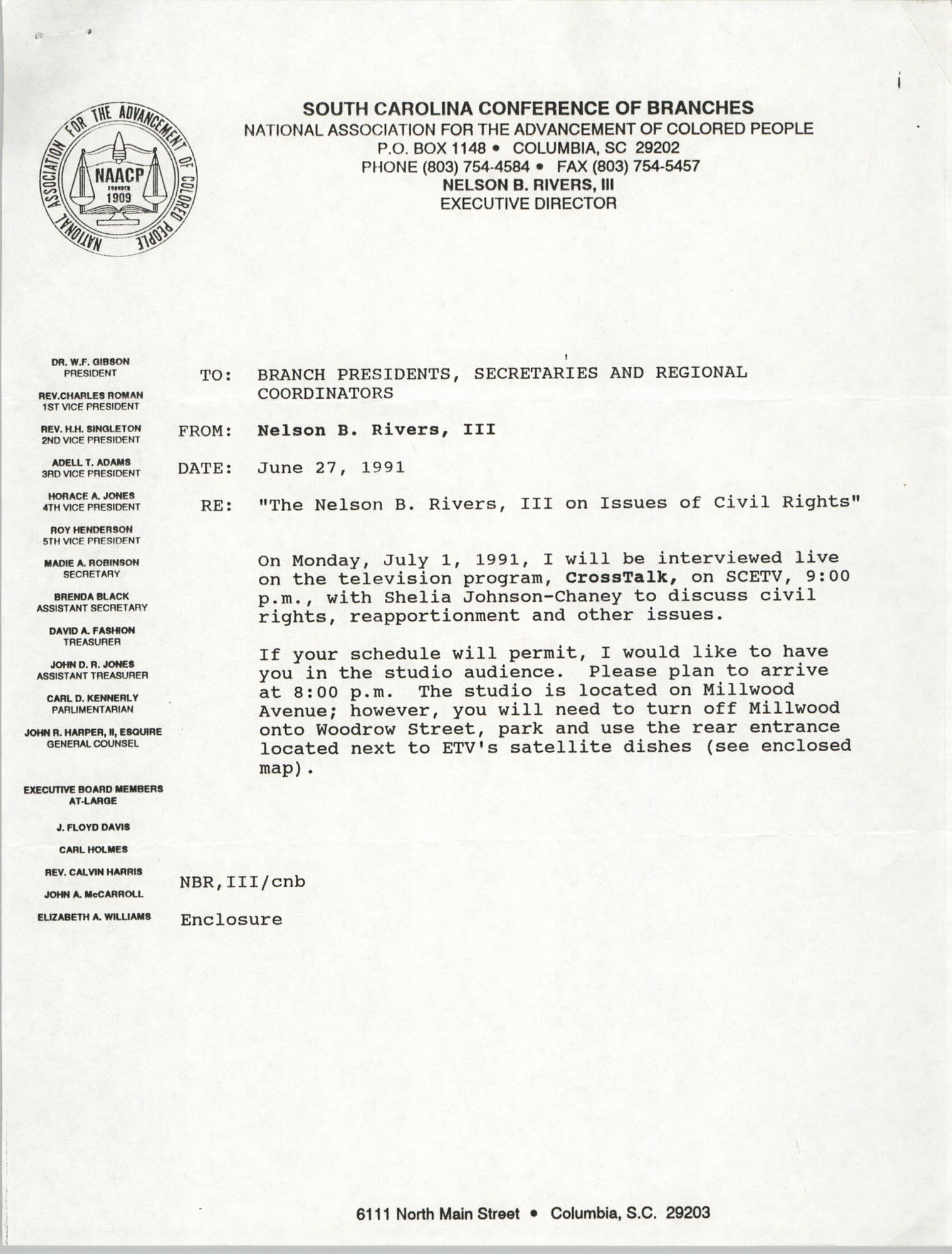 South Carolina Conference of Branches of the NAACP Memorandum, June 27, 1991