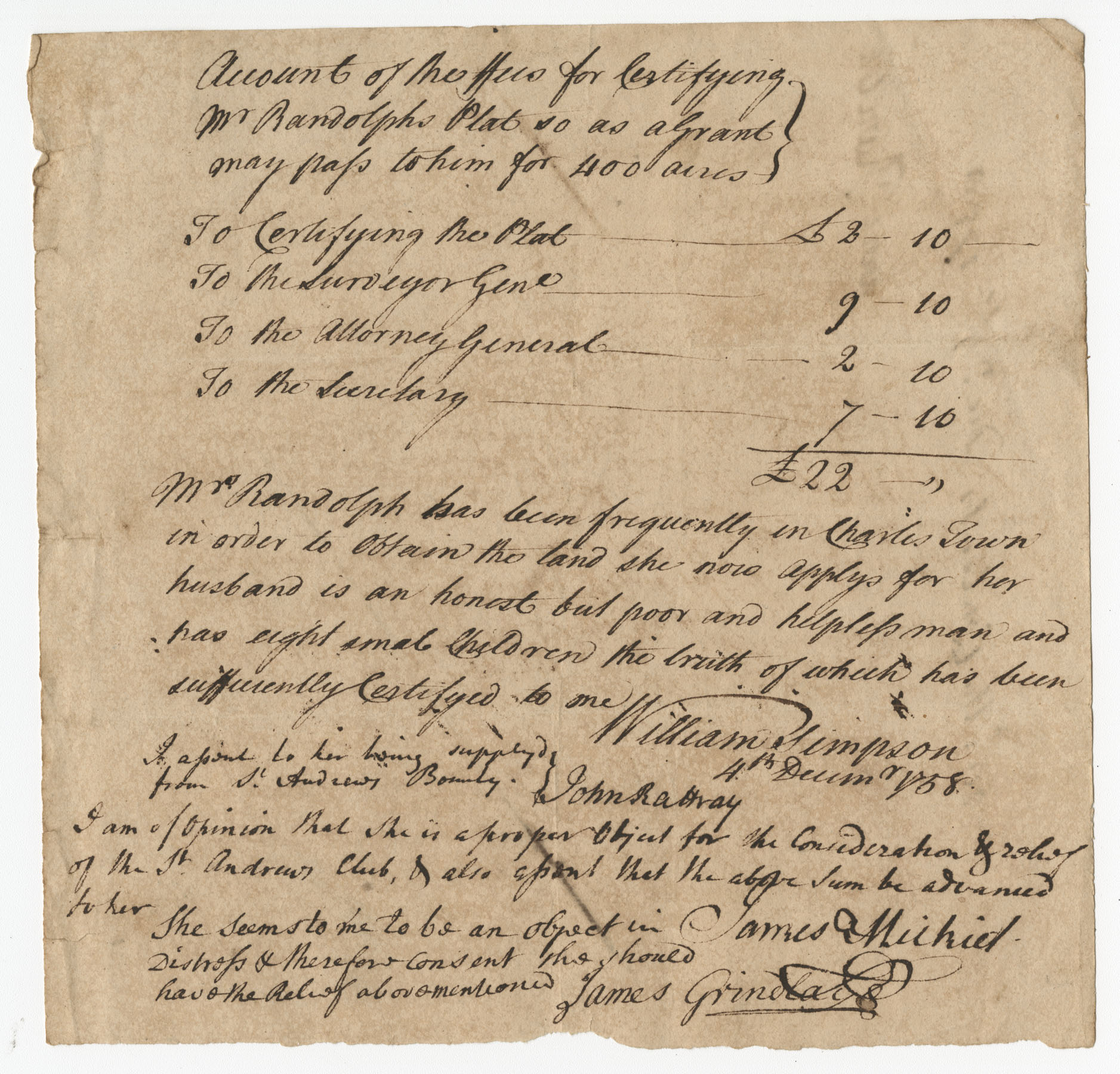 The Randolph's Petition Letter to the St. Andrew's Society