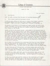 College of Charleston Memorandum, August 27, 1986
