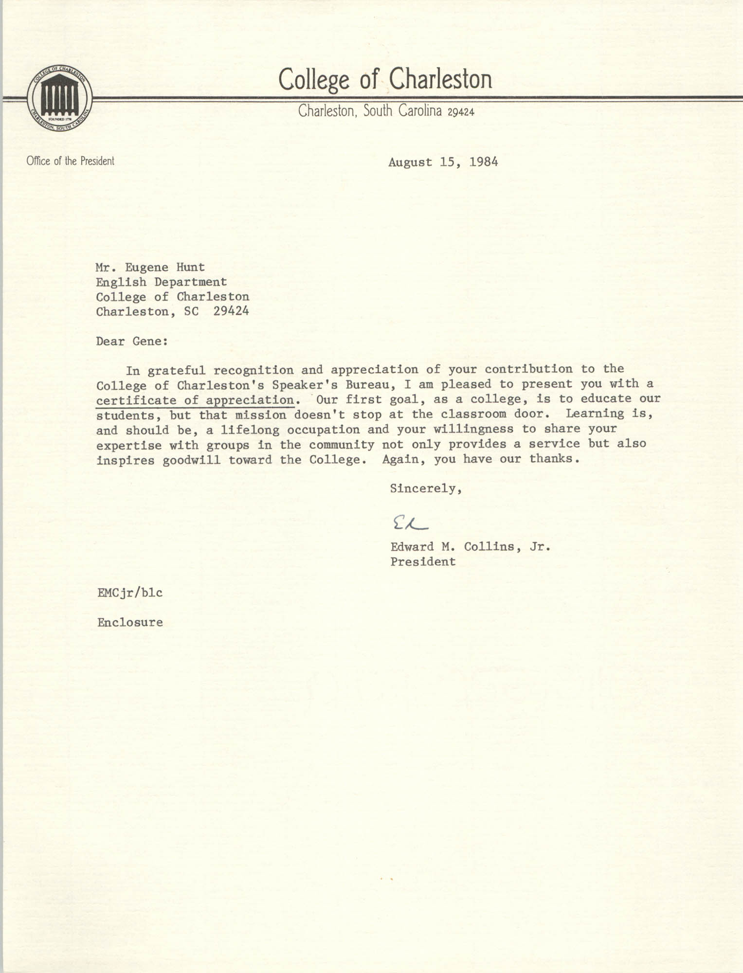 Letter from Edward M. Collins, Jr. to Eugene Hunt, August 15, 1984