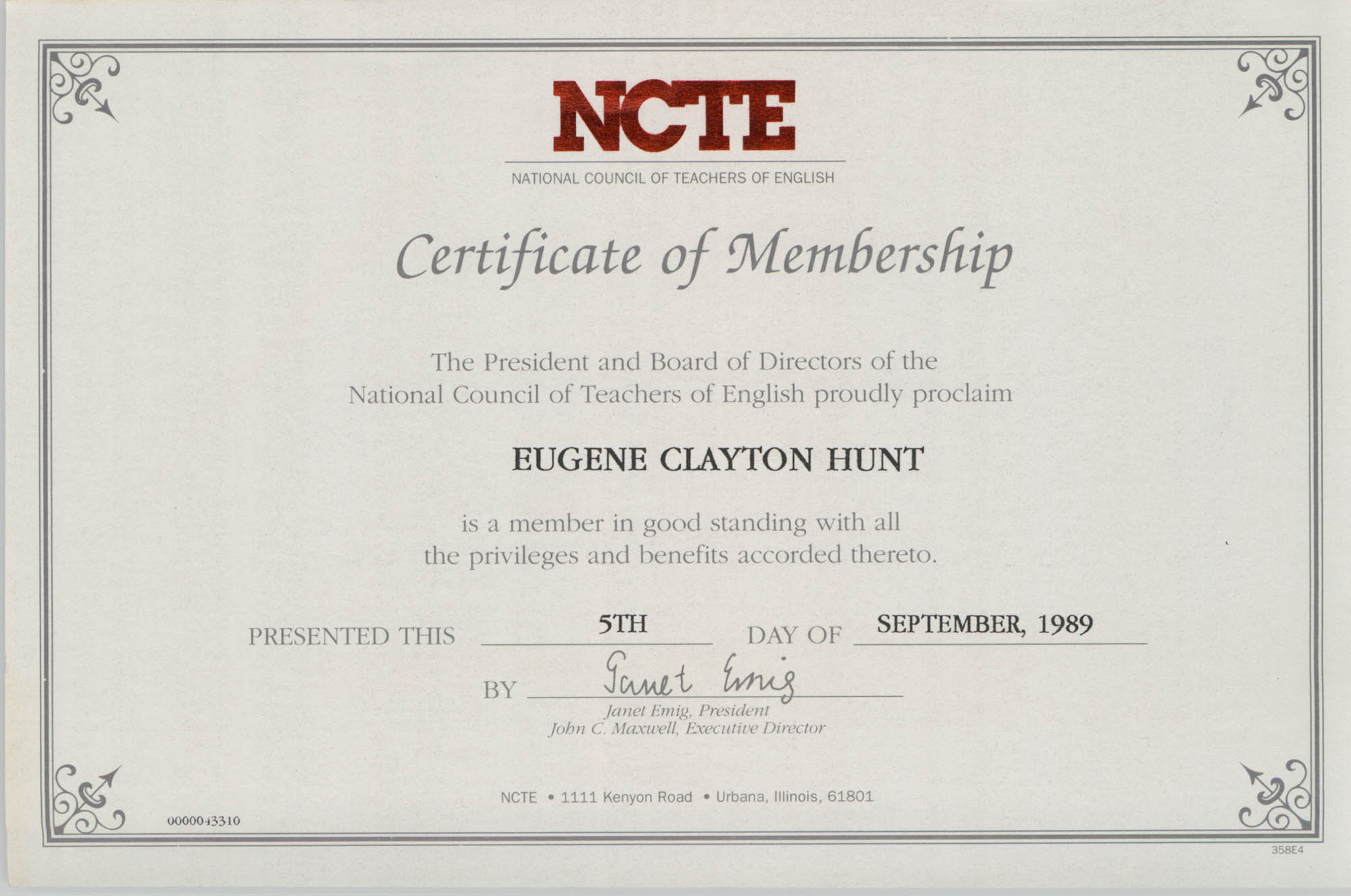 National Council of Teachers of English Certificate of Membership, Eugene Hunt