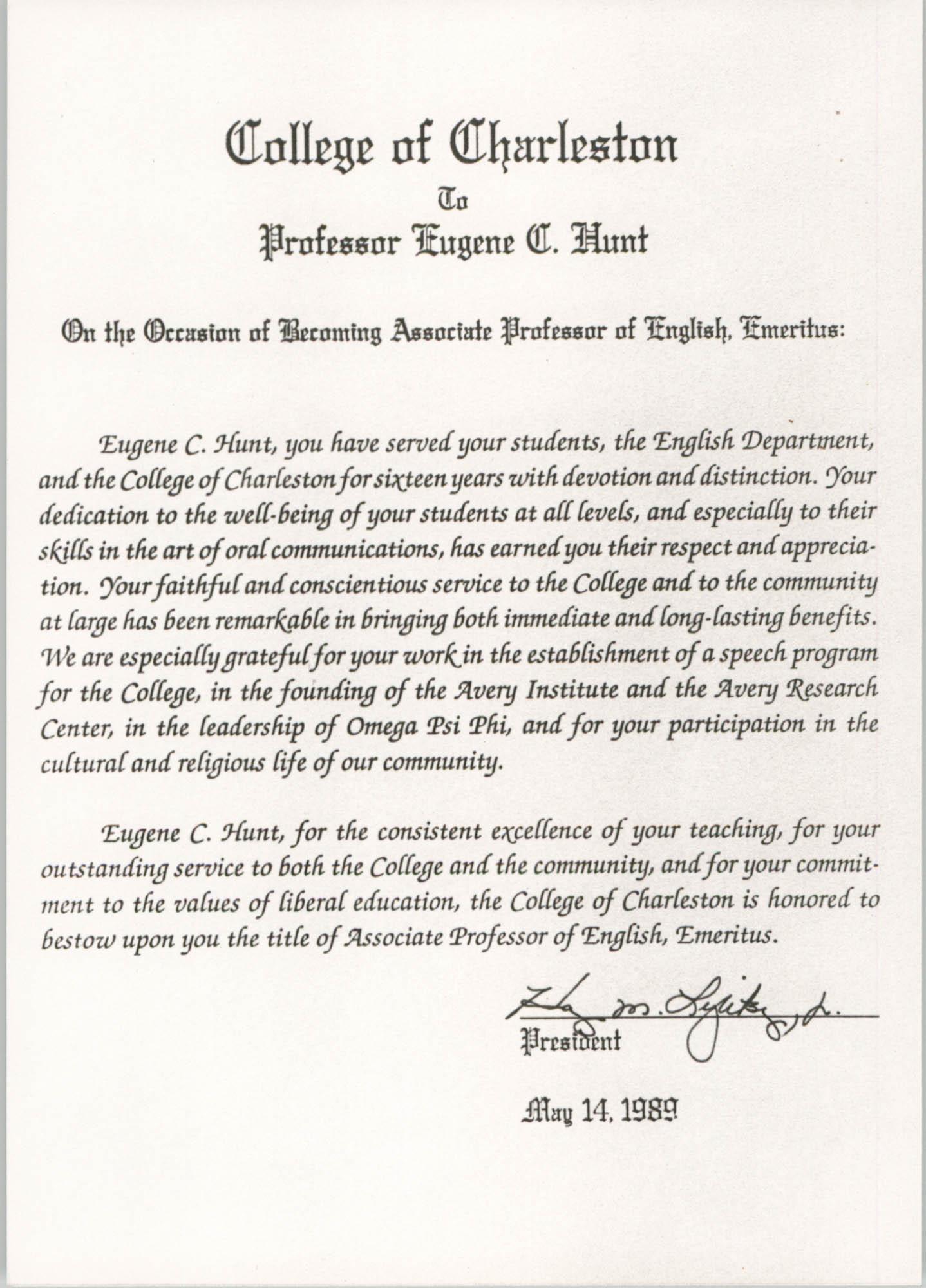 Professor Eugene C. Hunt, Associate Professor of English Emeritus Certificate