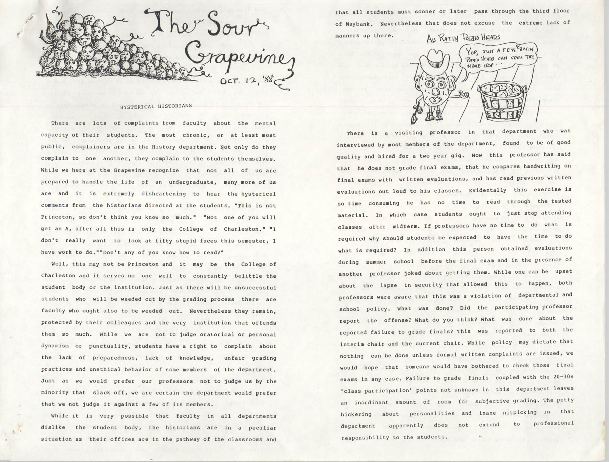 The Sour Grapevine, October 12, 1988