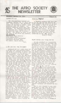 The Afro Society Newsletter, Volume 14, October 30, 1975