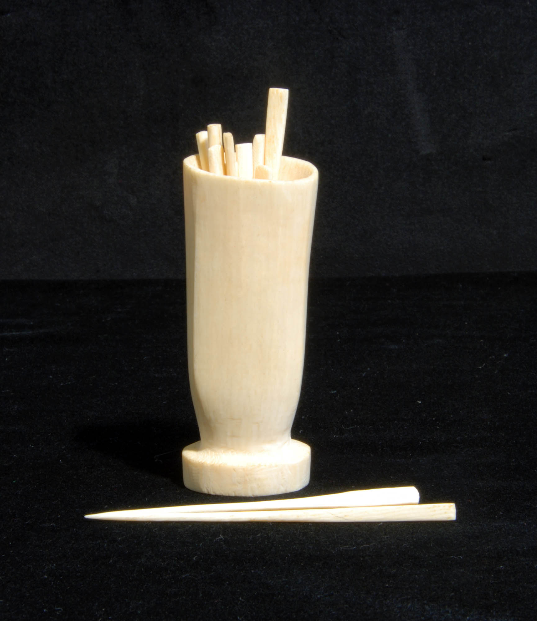 Ivory toothpicks and holder
