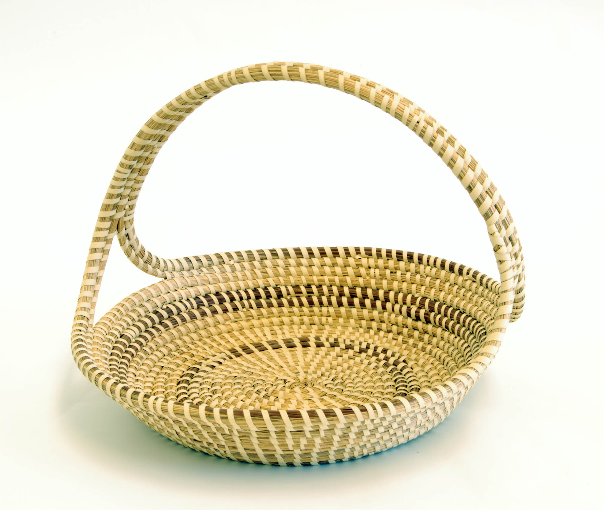 Cross handle sweetgrass basket