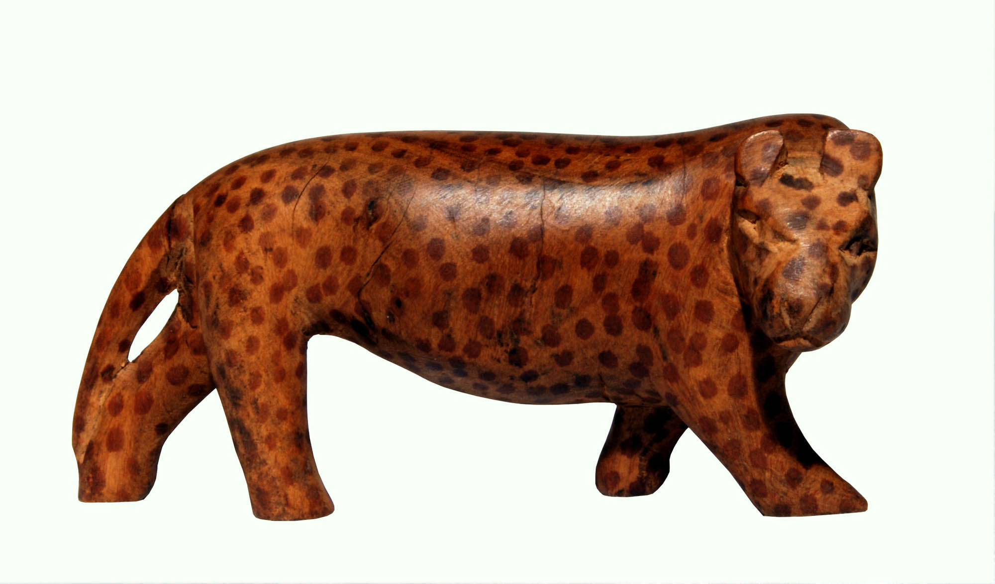 Wooden leopard carving