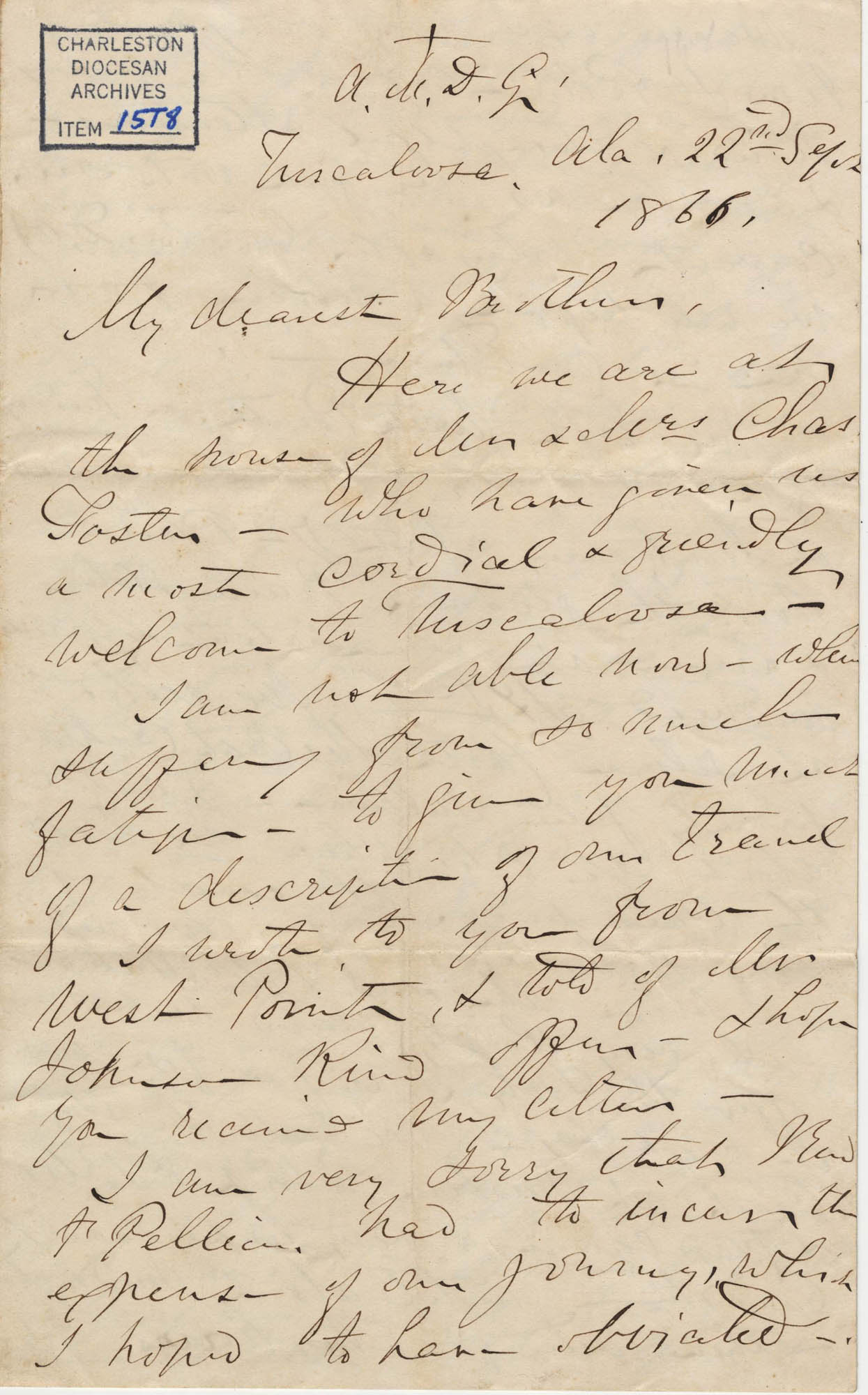 432. Madame Baptiste to Bp Patrick Lynch -- September 22, 1866