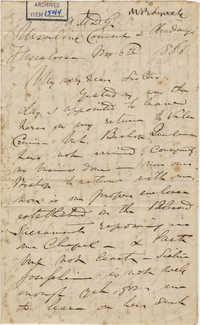 438. Madame Baptiste to her Ursuline sisters -- November 6, 1866
