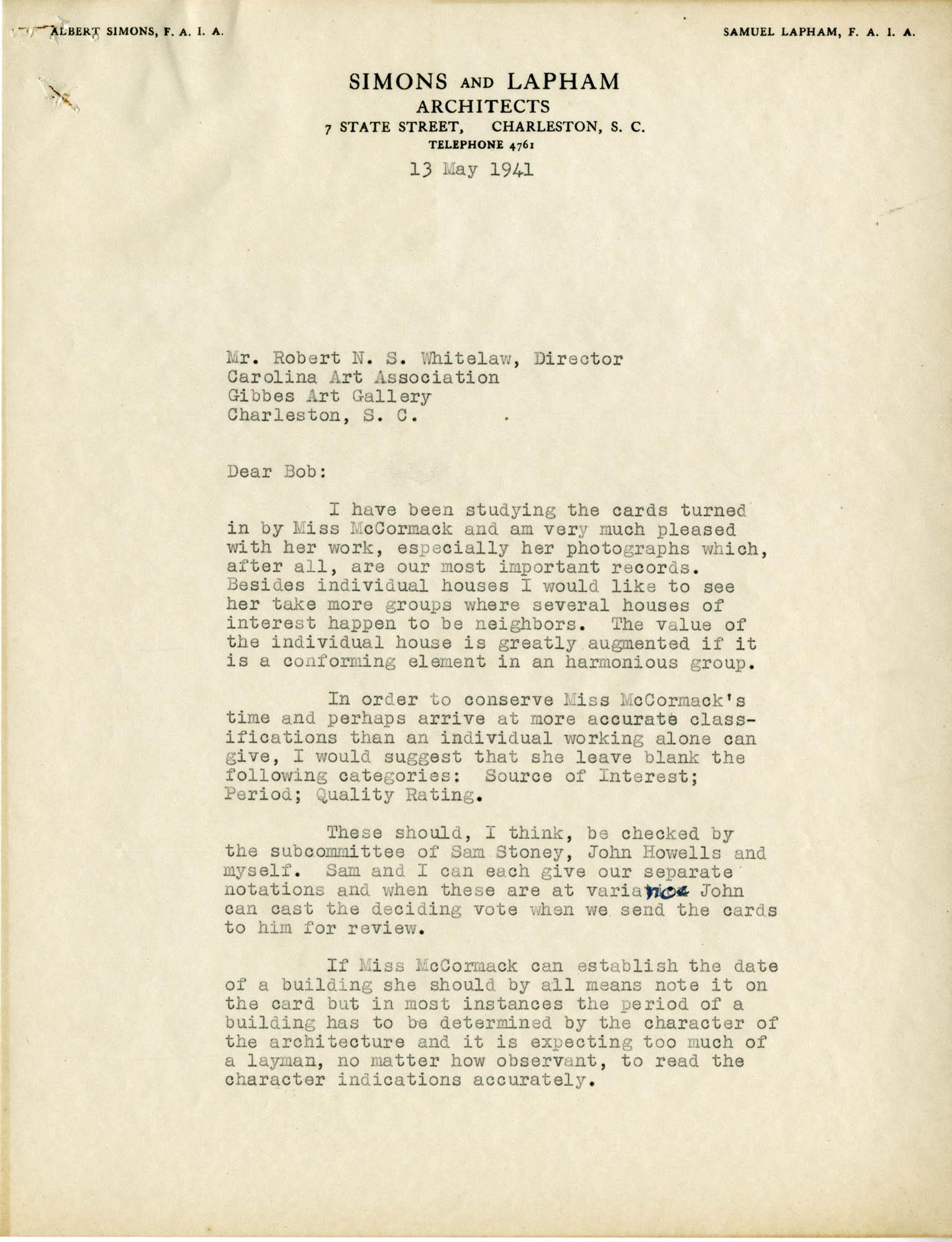 Folder 18: Albert Simons Letter 2