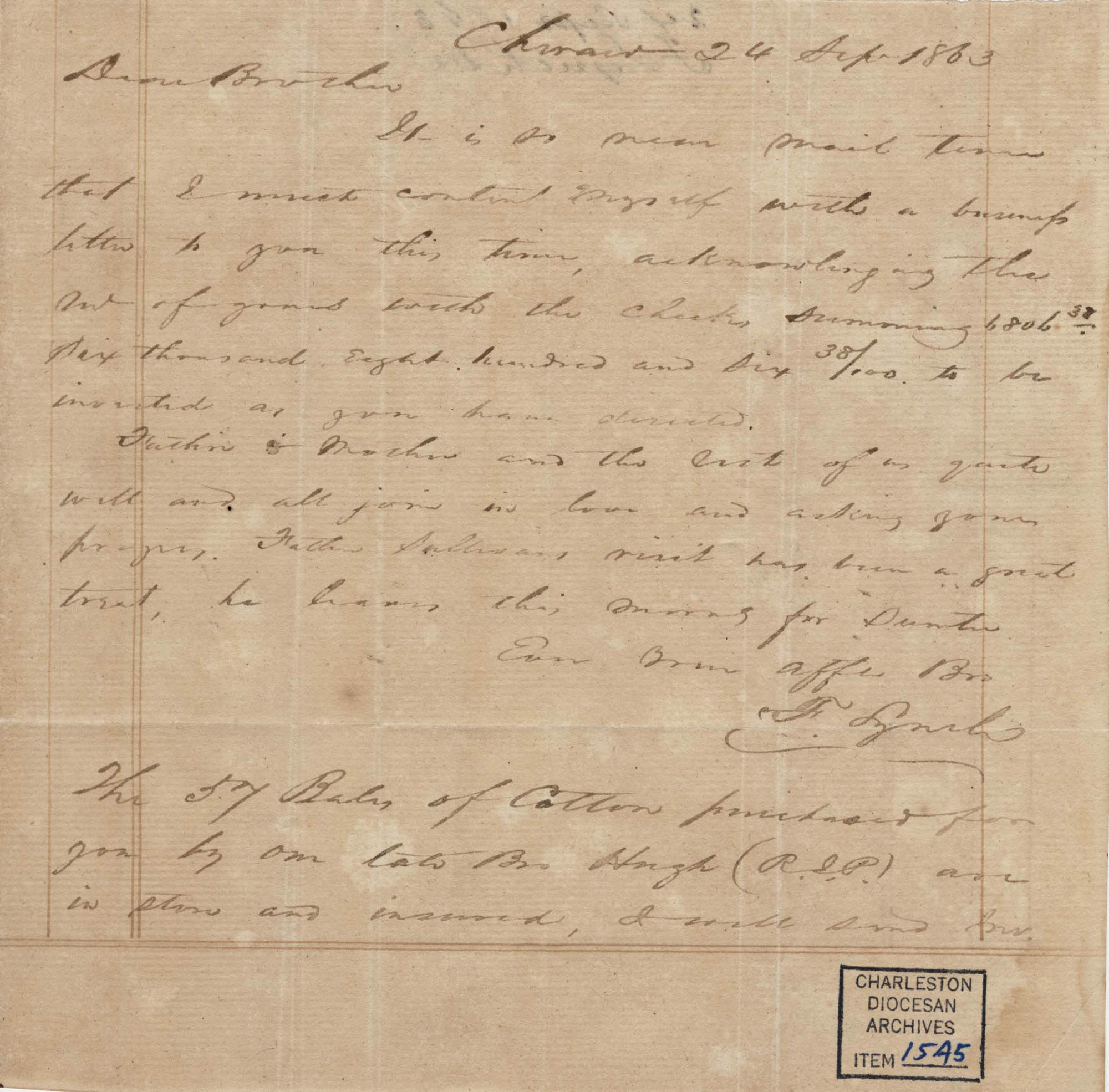 311. Francis Lynch to Bp Patrick Lynch -- September 24, 1863