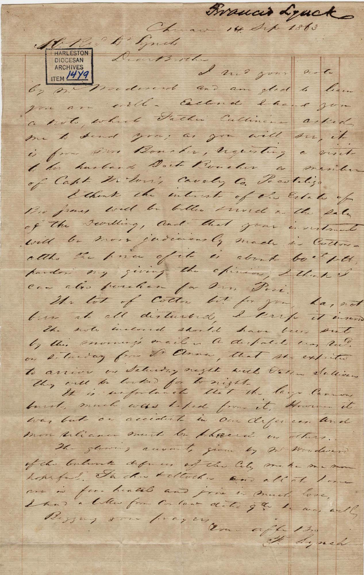 305. Francis Lynch to Bp Patrick Lynch -- September 14, 1863