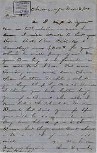 021. John Lynch to wife -- November 16, 1858