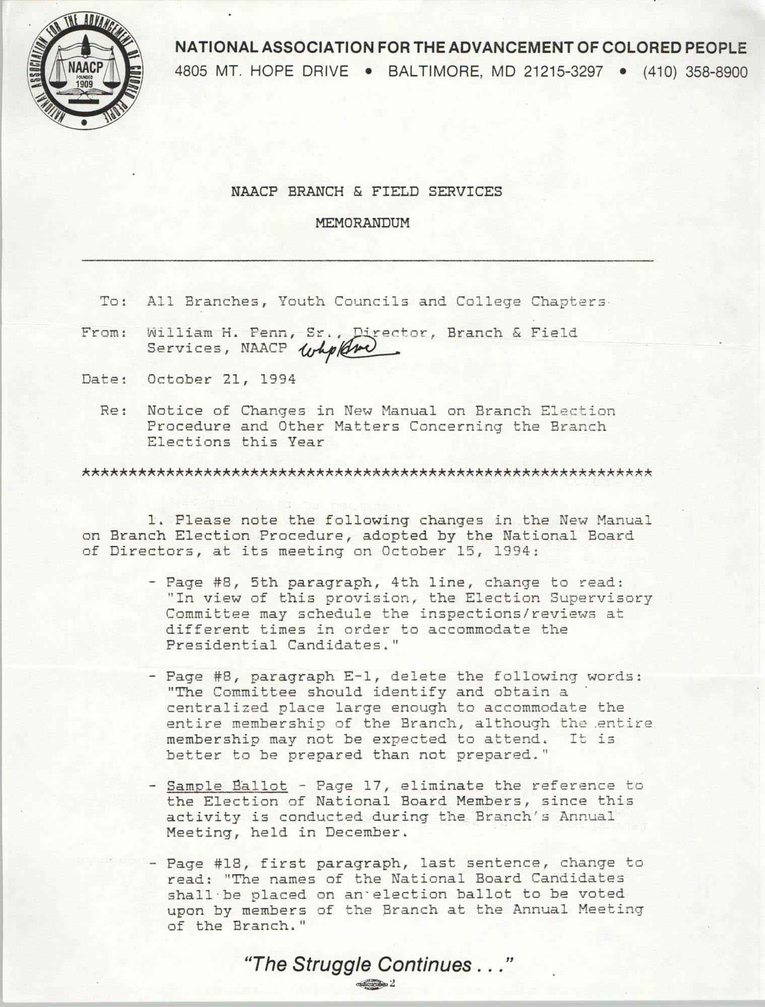 NAACP Branch and Field Services Memorandum, October 21, 1994