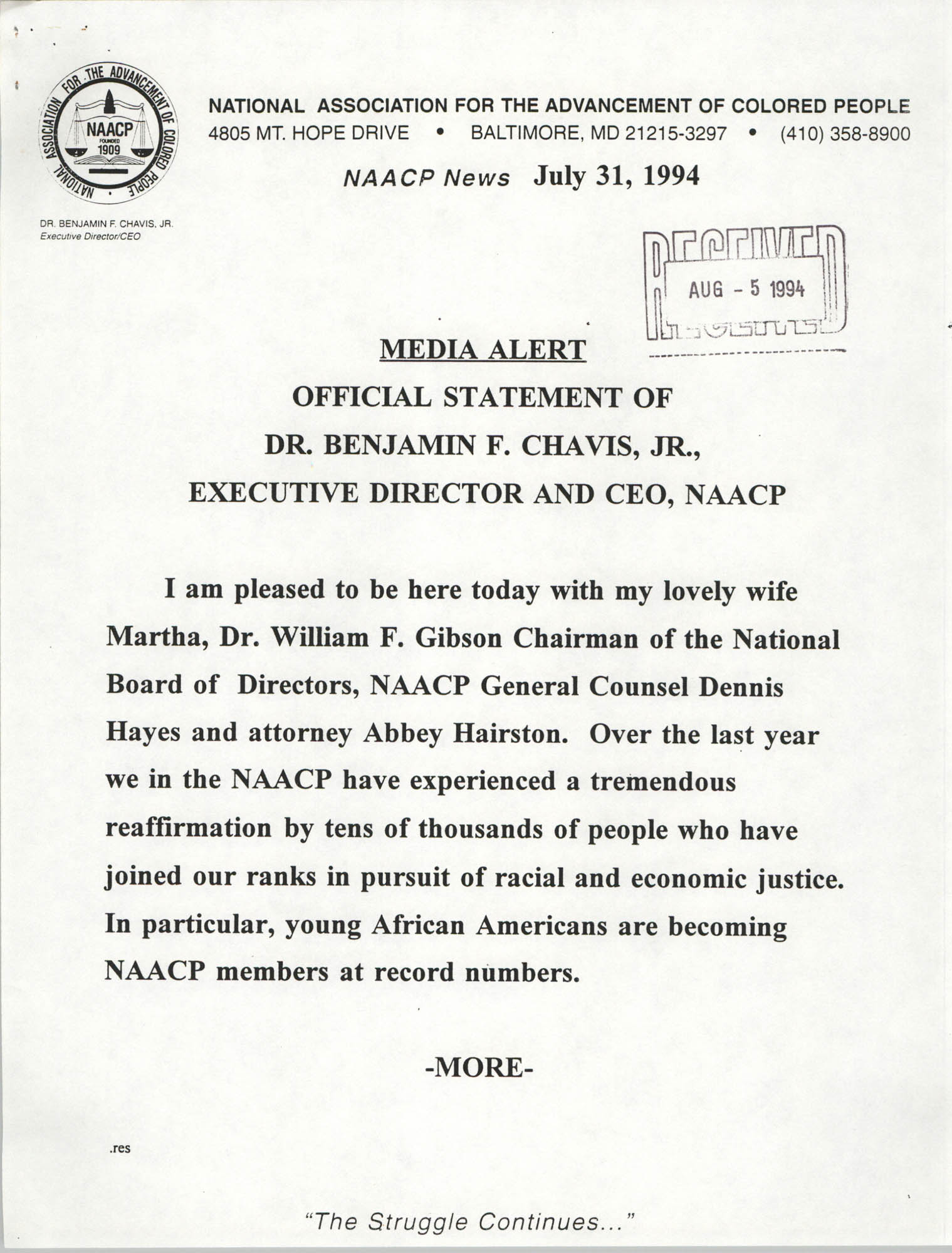 NAACP Media Alert, Official Statement of Dr. Benjamin F. Chavis, Jr.