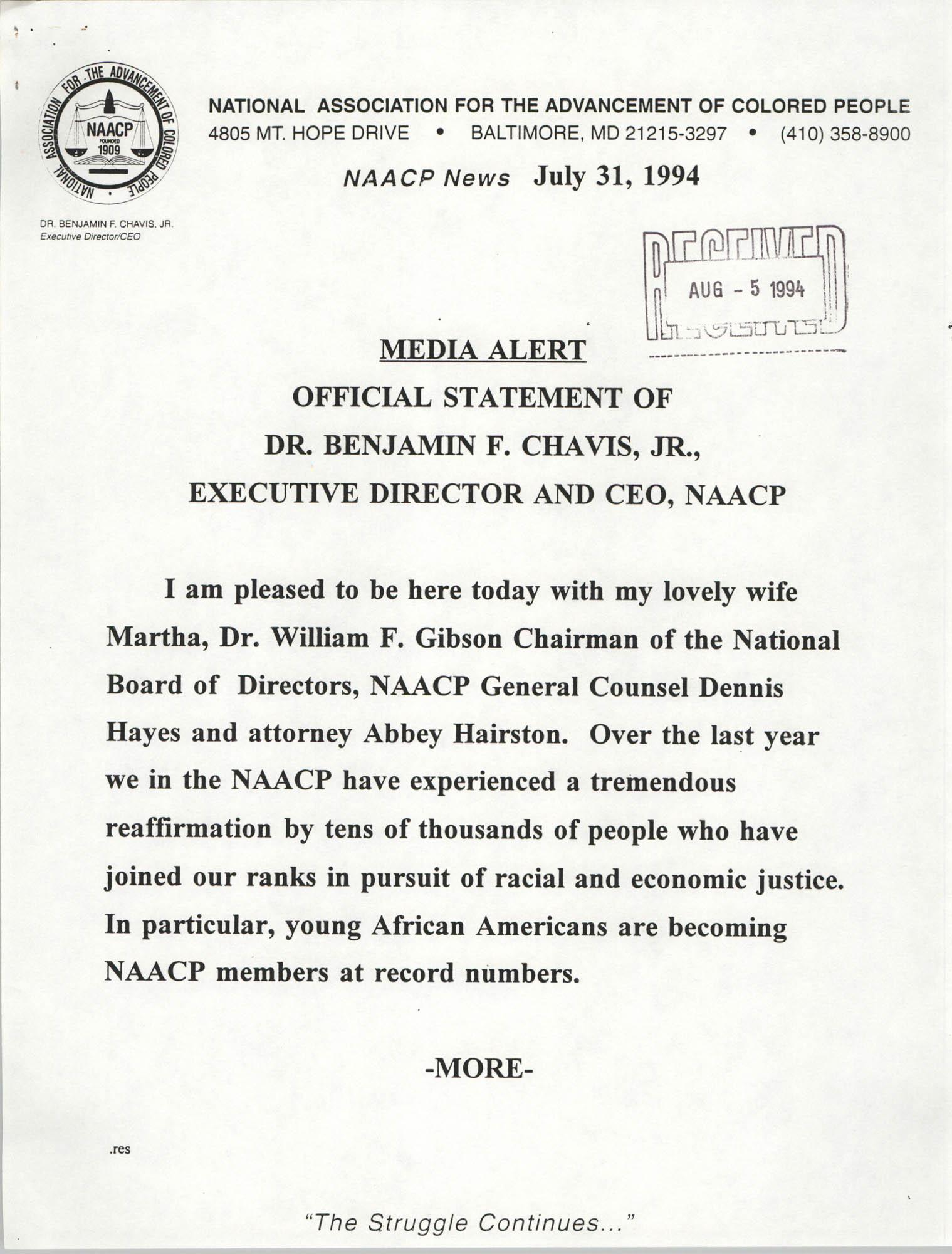 NAACP Media Alert, Official Statement of Dr. Benjamin F. Chavis, Jr.