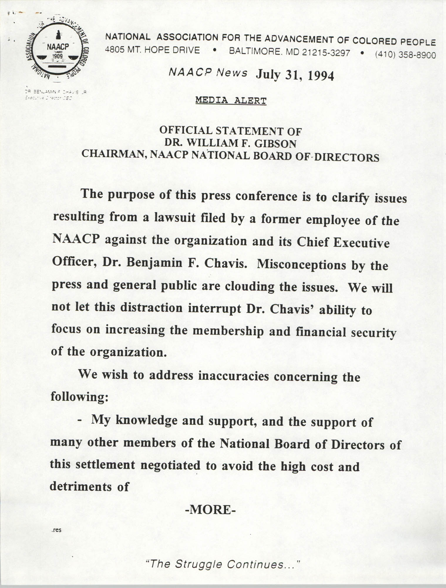 NAACP Media Alert, Official Statement of Dr. William F. Gibson