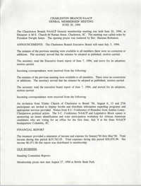 Minutes, Charleston Branch of the NAACP General Membership Meeting, June 30, 1994