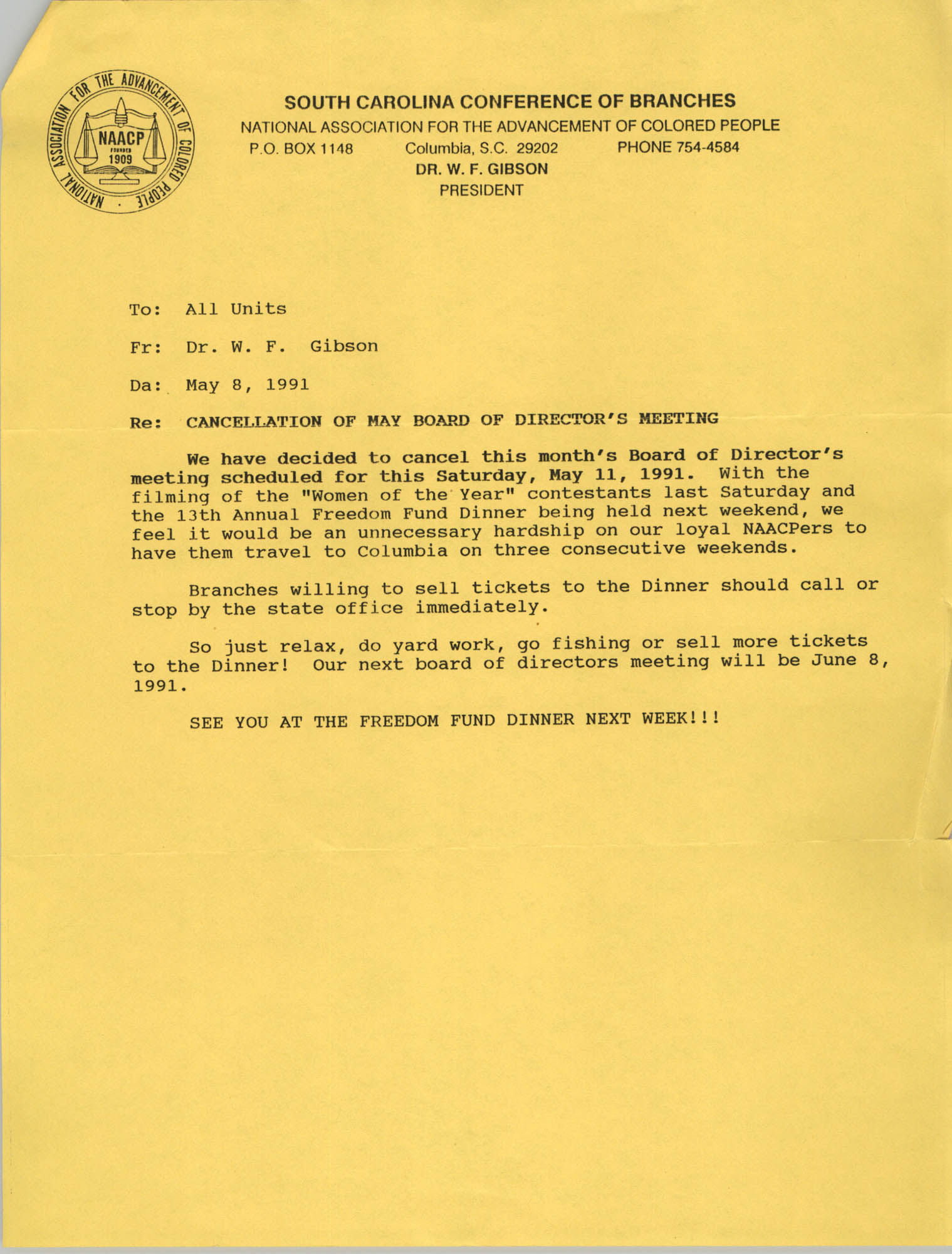 South Carolina Conference of Branches of the NAACP Memorandum, May 8, 1991